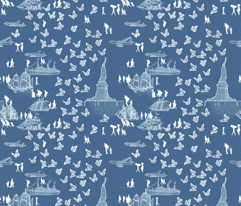 A Nation of Immigrants on Light Blue fabric by landpenguin on Spoonflower - custom fabric