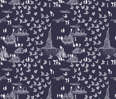 A Nation of Immigrants on Purple fabric by landpenguin on Spoonflower - custom fabric