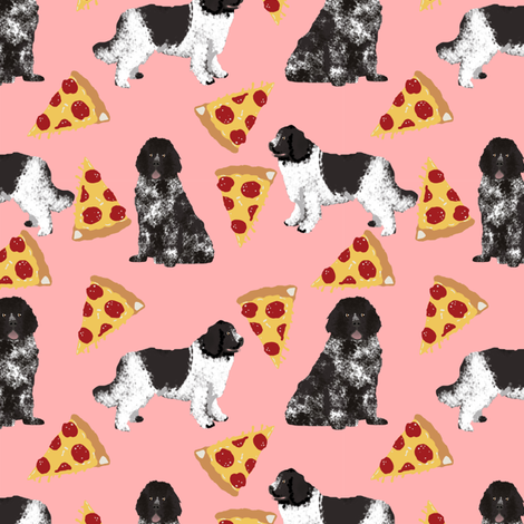 newfoundland pizza fabric landseer dog design newfoundlands fabric design cute dogs black and white dog fabric by petfriendly on Spoonflower - custom fabric