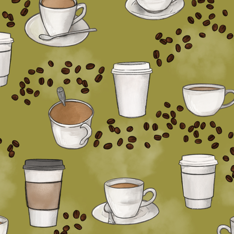 Coffee on Olive Green fabric by landpenguin on Spoonflower - custom fabric