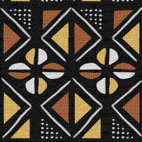 Mudcloth Inspired Dots Diamonds and Cowrie Shells fabric by eclectic_house on Spoonflower - custom fabric