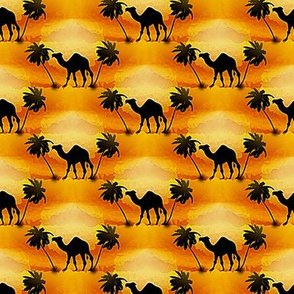 camel and palms