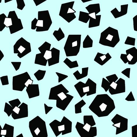 animal_print__black_white__blue_background fabric by emilyhamiltonillustration on Spoonflower - custom fabric
