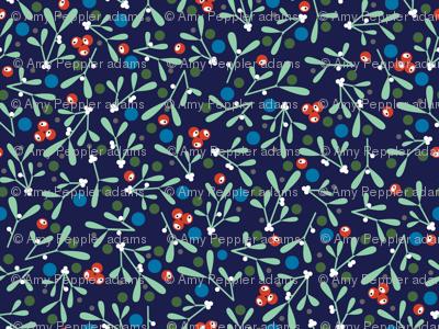 Ditsy Mistletoe* (Jackie Blue)    Christmas holiday nature leaves berries calico