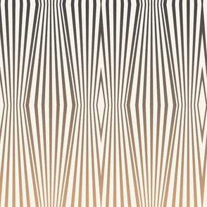 Zebra diamond op art stripes, tan to gray on off-white by Su_G