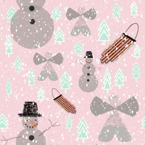 Snow angels, Snowmen, and Sleds fabric by gargoylesentry on Spoonflower - custom fabric