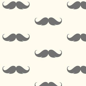 moustache hipster, grey on cream
