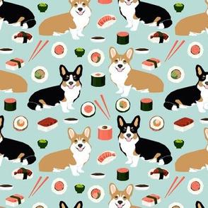 corgi and sushi fabric tri colored corgis fabric japanese food sushi corgi design japanese fabrics