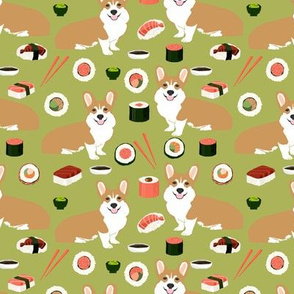 corgis sushi cute corgi dog sushi fabric japanese food corgis fabric cute kawaii print