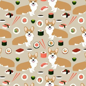 corgi sushi fabric corgi food design japanese fabric food design corgis fabric