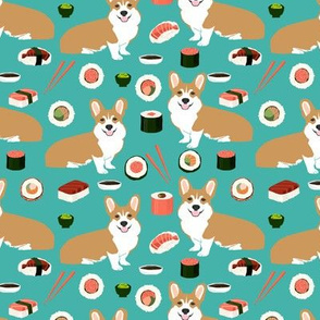 corgi sushi fabric cute red and white corgis design sushi kawaii japanese fabric cute corgis design