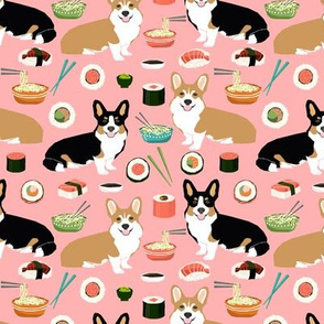corgis sushi and noodles design corgi fabric cute japanese food design cute corgis fabric