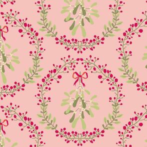 Mistletoe_wreath_fond_saumon_L
