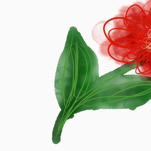 Red watercolor flower