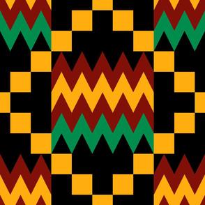 Jumbo Yellow, Green, Red, on Black, Kente Cloth