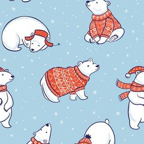 Polar bears in sweater