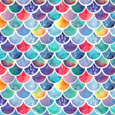 Rainbow Watercolour Scales fabric by emeryallardsmith on Spoonflower - custom fabric