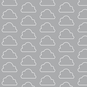 Big Clouds Gray and White / White Lines on Grey Nursery Wallpaper / Scandinavian Style Weddings Dreams with Grey Clouds