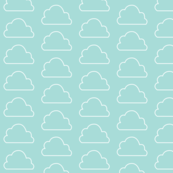 Big Clouds Mint and White / Neutral Geometric Scandinavian Baby Girl Nursery Sky Pale Turquoise / Minimalist Graphic Outline Clouds Light Turquoise