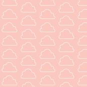 Cute Big Clouds in the Scandinavian Sky Blush Pink and White / Soft Pink and White Bedroom Dream Clouds