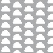 Big White Clouds Gray / Neutral Geometric Scandinavian Baby Nursery Sky / Minimalist Graphic Clouds