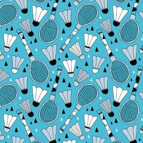 Cool tennis and badminton racket fun retro vintage sports theme in blue