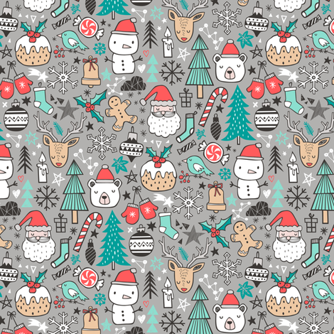 Xmas Christmas Winter Holiday Doodle with Snowman, Santa, Deer, Snowflakes, Trees, Mittens on Grey Tiny small fabric by caja_design on Spoonflower - custom fabric