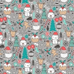 Xmas Christmas Winter Holiday Doodle with Snowman, Santa, Deer, Snowflakes, Trees, Mittens on Grey Tiny small