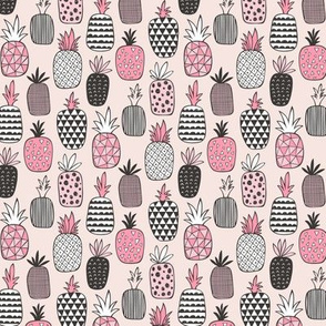 Pineapple Geometric on Pink Tiny Small
