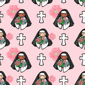 Sweet Sisters with Flowers and Crosses