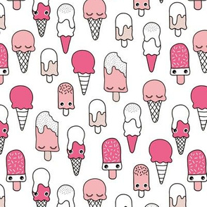 Colorful sweet summer ice cream popsicle sugar pastel pink kawaii illustration Pink
