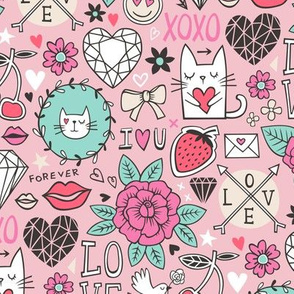Valentine Love Doodle with Cats, Roses, Flowers, Hearts and Gemstones on Pink