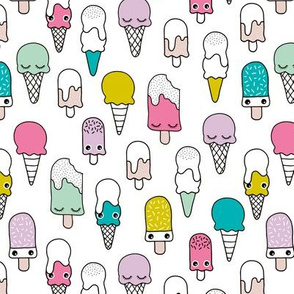 Colorful sweet summer ice cream popsicle sugar pastel pink kawaii illustration