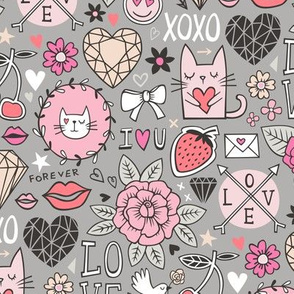 Valentine Love Doodle with Cats, Roses, Flowers, Hearts and Gemstones on Grey