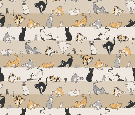 Cat & Mouse fabric by figandfossil on Spoonflower - custom fabric
