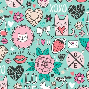Valentine Love Doodle with Cats, Roses, Flowers, Hearts and Gemstones on Mint Green