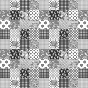 Black and white floral lazy quilt