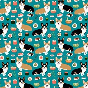 corgi sushi design sushi and noodles fabric corgis design fabric wasabi sushi fabric cute corgis
