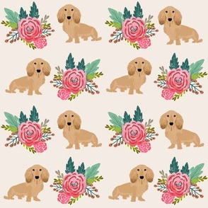 doxie dog cute dachshunds florals floral wreath cute dogs dog fabric cute dogs navy blue  cream long haired doxie design