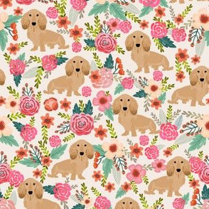 floral doxie dachshunds fabric cute doxie design cute florals dogs fabric cream longhaired doxie design