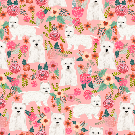 westie florals fabric cute west highland terrier dog design best westies fabric cute sewing projects for dog people fabric by petfriendly on Spoonflower - custom fabric