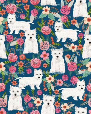 westie florals fabric cute west highland terrier dog design best westies florals fabric cute dogs design