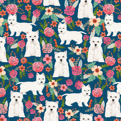 westie florals fabric cute west highland terrier dog design best westies florals fabric cute dogs design fabric by petfriendly on Spoonflower - custom fabric