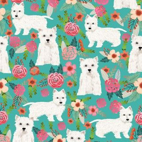 westie florals fabric cute dog design west highland terrier dog fabric cute westies floral fabric
