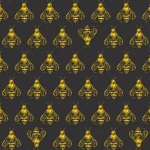 Honey bee I love thee // yellow on near black
