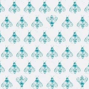 Honey bee I love thee // teal on grey