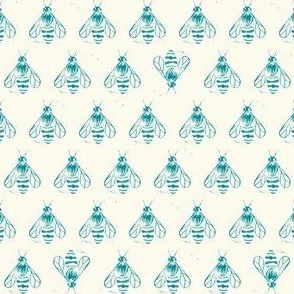 Honey bee I love thee // teal on cream