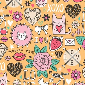 Valentine Love Doodle with Cats, Roses, Flowers, Hearts and Gemstones on Orange Yellow
