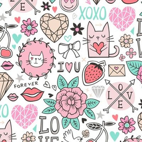 Valentine Love Doodle with Cats, Roses, Flowers, Hearts and Gemstones on White