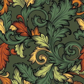 Acanthus Leaves (Baroque Green )